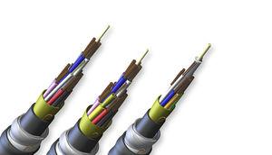 cable óptico de datos / blindado / de material compuesto / para uso en interiores y exteriores