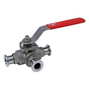 válvula de bola / manual / en T / de acero inoxidable