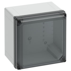 caja de policarbonato / de fibra de vidrio / vacía / con puerta transparente