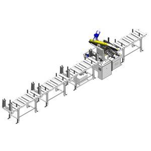 sierra de cinta / para tuberías / semiautomática / con transportador de rodillos