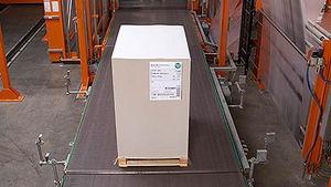 transportador de banda / para palés / de cartón / estacionario