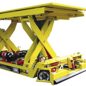 mesa elevadora de tijera larga / móvil / sobre riele / de alta eficacia