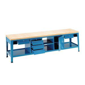 banco de trabajo de metal / monobloque / con 5 cajones / con compartimentos