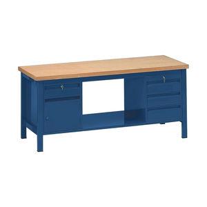 banco de trabajo de madera / monobloque / con 4 cajones / con puerta