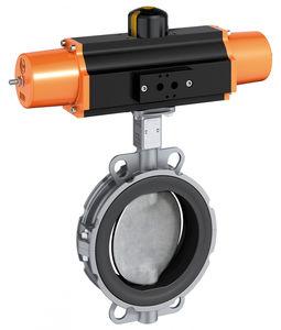válvula de mariposa / con control neumático / wafer / con revestimiento de PFA