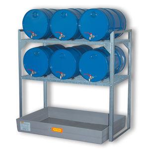 sistema de estanterías depósito de almacenamiento / para bidones con contenedor de retención / galvanizado / doble cara