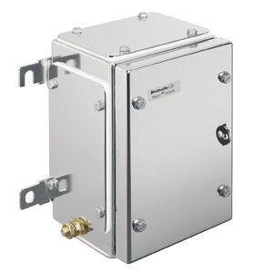 caja de pared / rectangular / de acero inoxidable / con tapa abatible