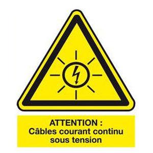 etiqueta de seguridad / adhesiva / de PVC / para red eléctrica de corriente continua