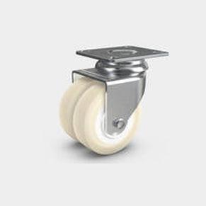 ruedecilla giratoria / con platino giratorio / gemela / de poliuretano