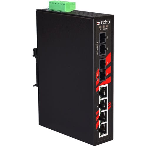 conmutador Ethernet no administrable / 6 puertos / en riel DIN / de pared