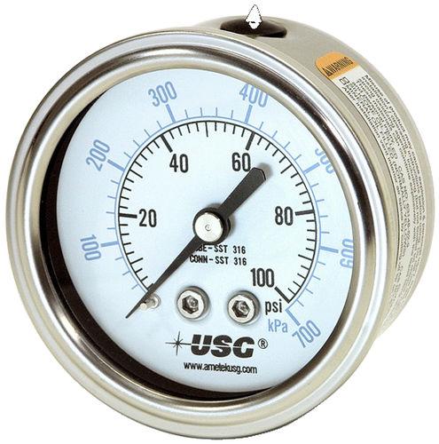 manómetro de doble escala / de tubo Bourdon de líquido / de proceso / de acero inoxidable