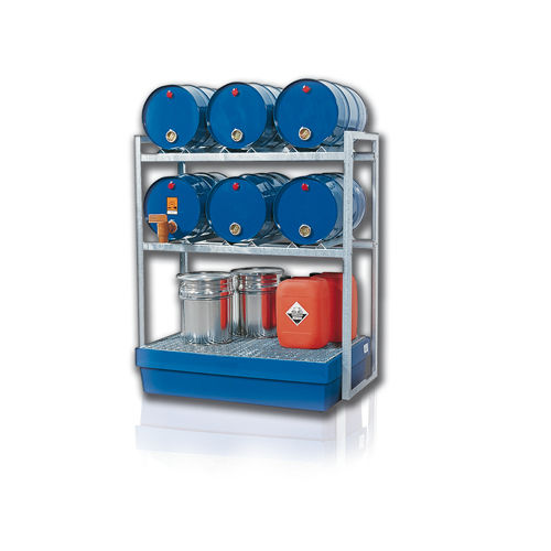 sistema de estanterías depósito de almacenamiento / para carga mediana / para bidones con contenedor de retención