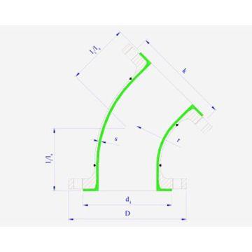 racor de brida / codo a 45º / hidráulico / de recubierto de PTFE