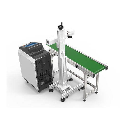 máquina de marcado láser de fibra / con pantalla táctil / de acero inoxidable / con transportador