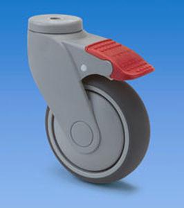 ruedecilla giratoria / con vástago / con freno / de poliuretano
