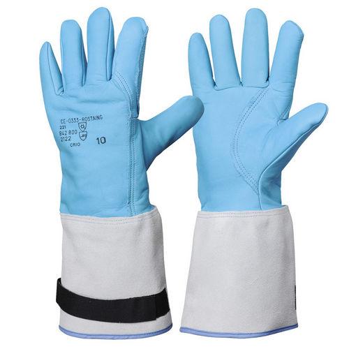 guante de manipulación / criogénico / de cuero / impermeable