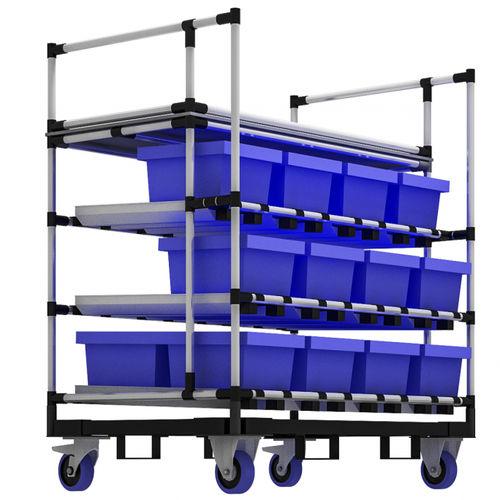 carretilla de almacenamiento / de metal / con estantes / porta-cubetas