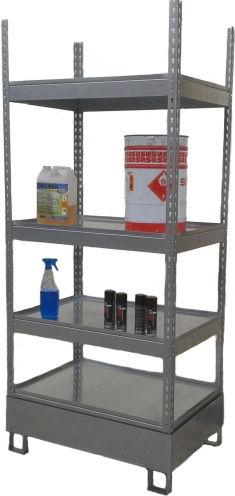 sistema de estanterías depósito de almacenamiento / para carga mediana / galvanizado / con tablas