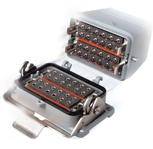 conector híbrido / de fibras ópticas / rectangular / de bloqueo