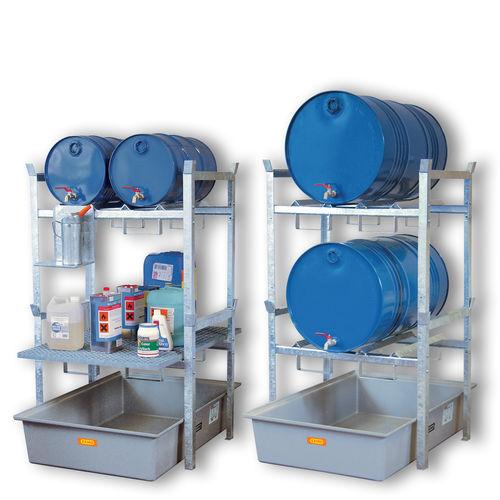 sistema de estanterías depósito de almacenamiento / para carga mediana / para bidones con contenedor de retención / galvanizado