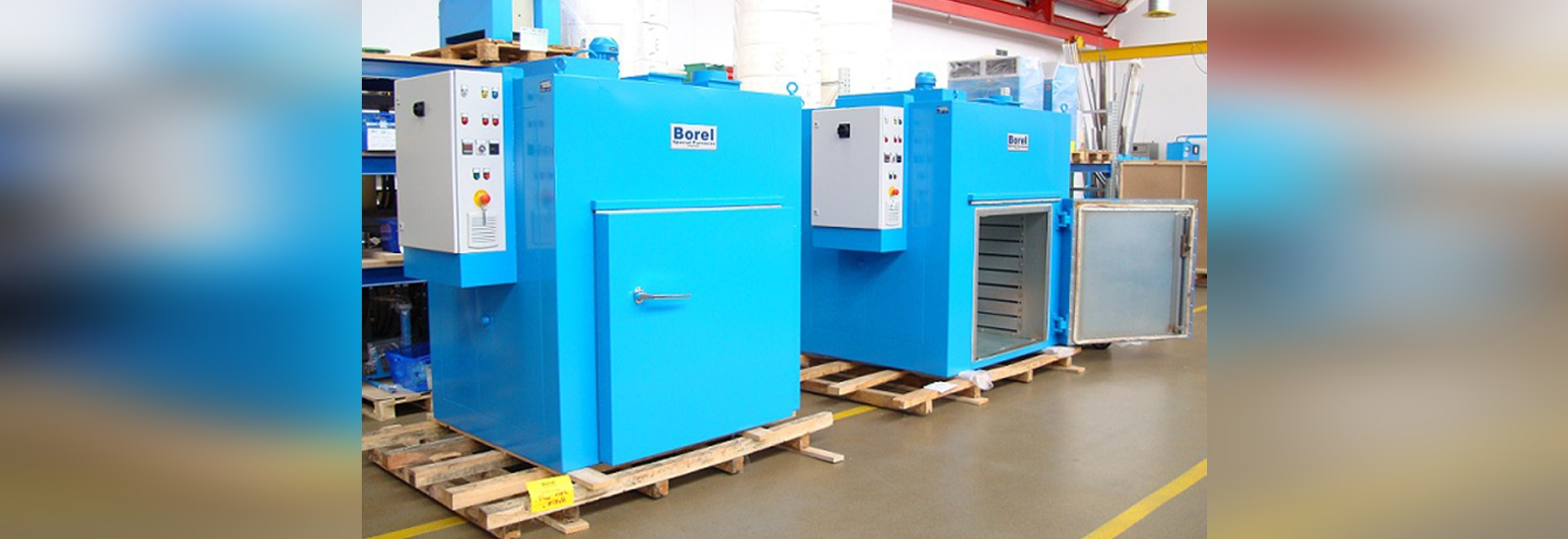 Industrial ventilated ovens, 1000 liters, 350 ° C, central control, Benelux synthetic textiles industry