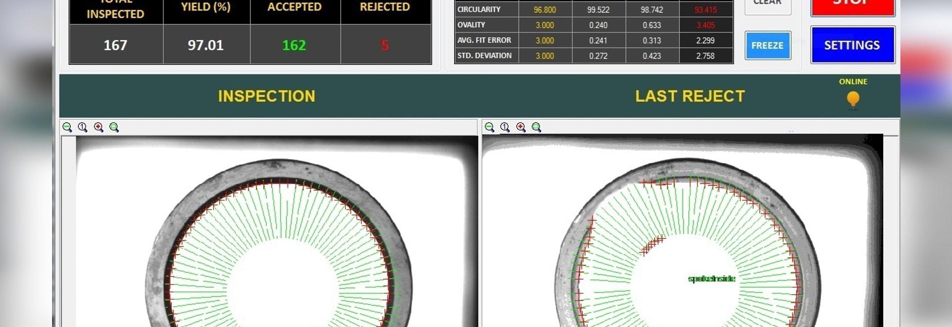 ¿Un interfaz persona-máquina de encargo (HMI) permite a un operador fijar y supervisar las inspecciones de la parte realizadas por Teledyne DALSA? software de la visión por ordenador de s Sherlock