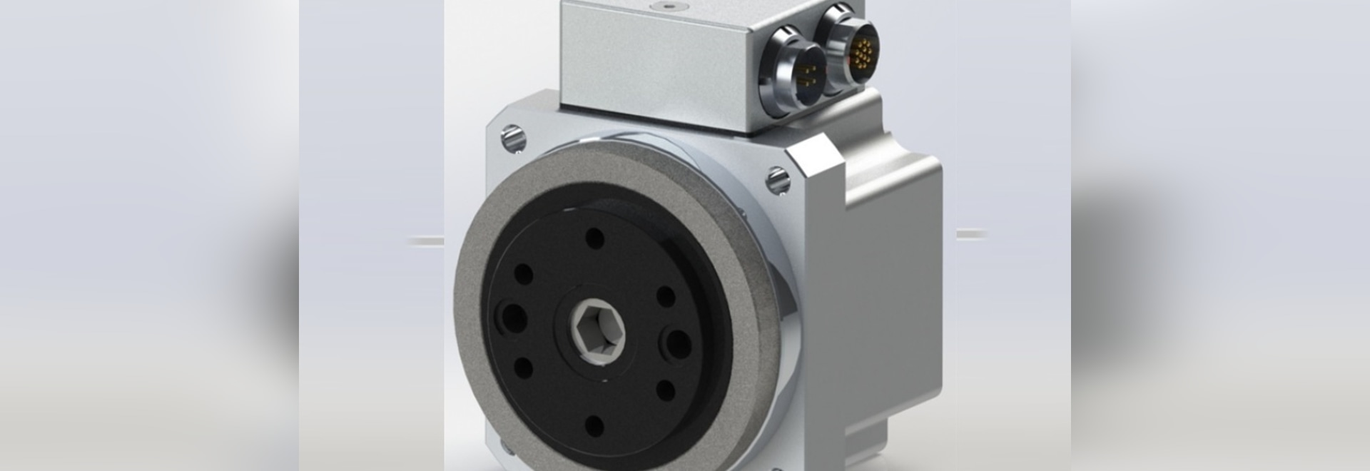 Servoactuador FHA-C Mini 24V de Harmonic Drive con codificador absoluto doble y conectores para montaje en panel