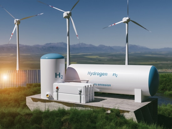 Producción de energía renovable de hidrógeno - gas de hidrógeno para una instalación de electricidad limpia solar y eólica. Representación en 3D.