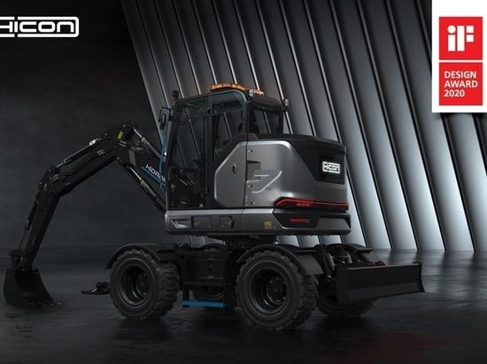 La excavadora de ruedas 100% eléctrica HICON 7 W de HİDROMEK ha ganado su segundo premio de diseño