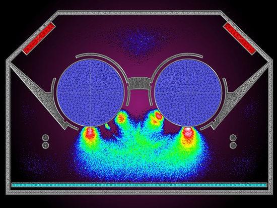 Descarga simulada del plasma en un modelo cortado del Megatron®.