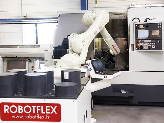 Carga/que descarga de ROBOTFLEX el robot para las máquinas del CNC