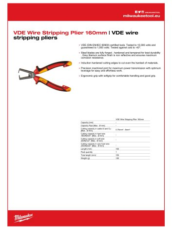 VDE Wire Stripping Plier 160mm | VDE wire