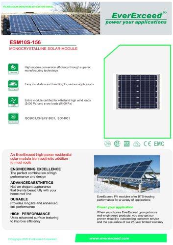Monocrystalline silicon photovoltaic solar panel ESM S series