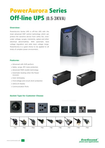 Off-line UPS 0.5-3kVA Power Aurora series