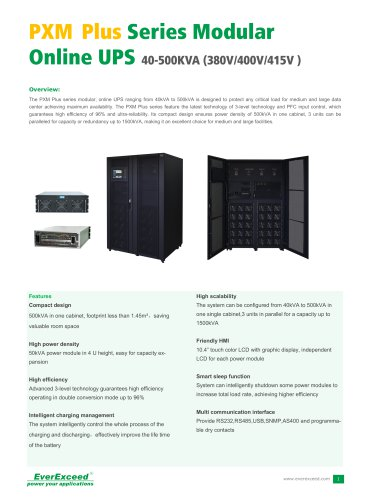 Parallel UPS 40-500kVA PXM PLUS series