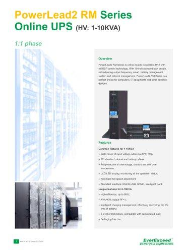 Single phase On-line UPS 1-10kVA PowerLead2 RM series
