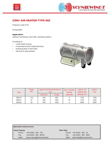 CSN® AIR HEATER TYPE 860