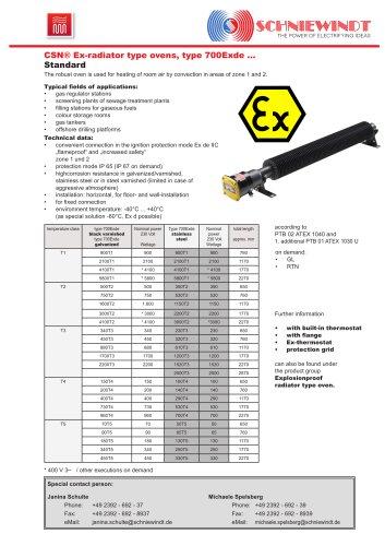Ex-Room Heater standard type 700 ex
