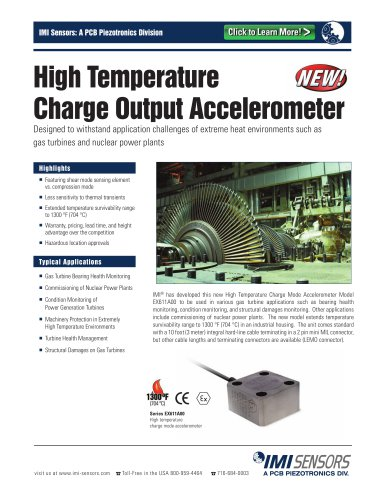 High Temperature  Charge Output Accelerometer