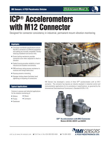 ICP® Accelerometers with M12 Connector (Models 601A92, 602D91 and 603C91)