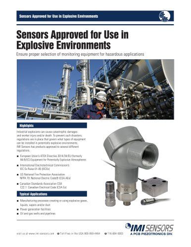 Sensors Approved for Use in Explosive Environments