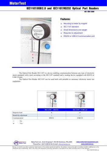 Optical port reader IEC1107/RS232