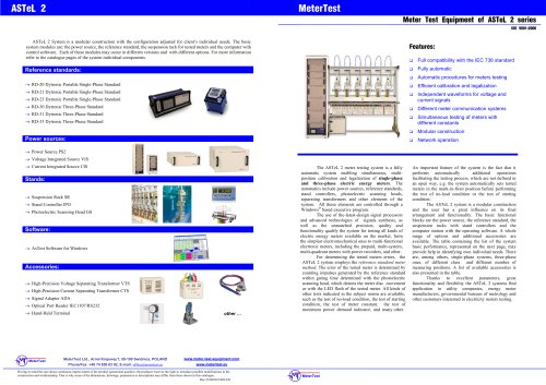 Single-phase meter test equipment of ASTeL 1.2