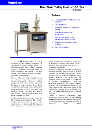 Three-phase testing stand of LS-3 type