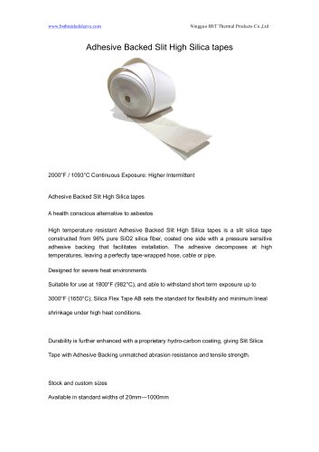 BSTFLEX Adhesive Backed Slit High Silica tapes