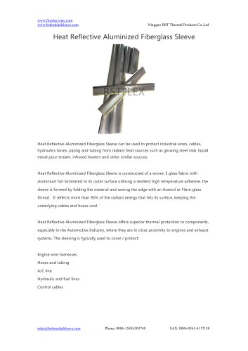 BSTFLEX heatshield Heat Reflective Aluminized Fiberglass Sleeve