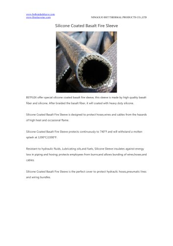 BSTFLEX hydraulic tube, hose, cable protection Silicone Coated Basalt Fire Sleeve