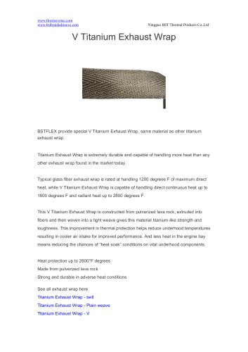 BSTFLEX LAVA rock fiber V Titanium Exhaust Wrap