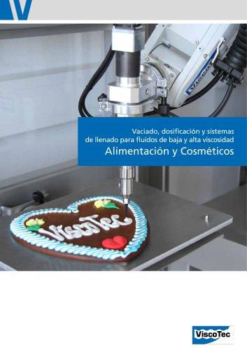 Alimentación y Cosméticos: Vaciado, dosificación y sistemas de llenado para fluidos de baja y alta viscosidad