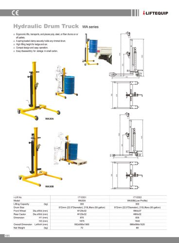i-Lift/Hu-Lift Hydraulic Drum Truck WA for Drum Lifting and Transporting
